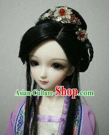 Traditional Handmade Chinese Ancient Tang Dynasty Royal Princess Wig Sheath Wiggery for Women