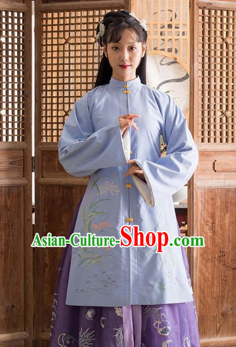 Traditional Chinese Ming Dynasty Nobility Lady Costume Princess Embroidered Hanfu Long Blouse for Women