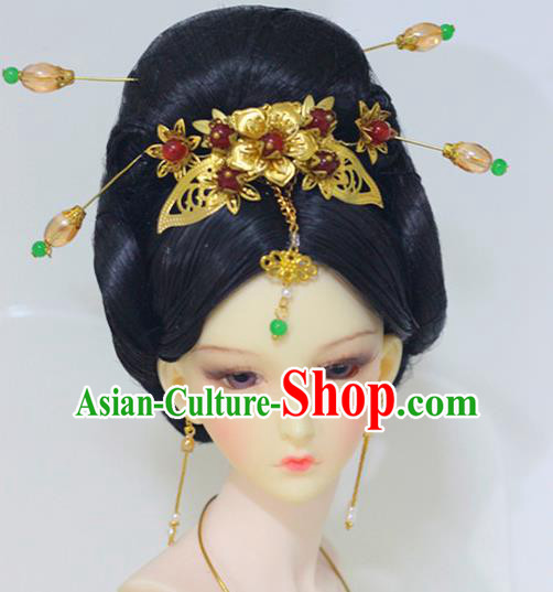 Traditional Handmade Chinese Tang Dynasty Imperial Empress Hair Accessories Hairpins and Wig for Women