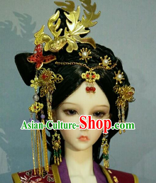Traditional Handmade Chinese Tang Dynasty Empress Palace Lady Hair Accessories Hairpins and Wig for Women