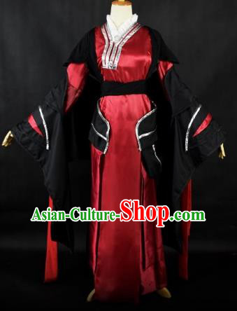 Traditional Chinese Ancient Swordsman Embroidered Costume Han Dynasty Young Lady Clothing