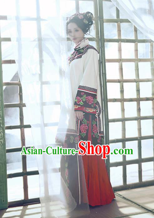 Traditional Chinese Qing Dynasty Princess Costume Ancient Republic of China Young Mistress Embroidered Clothing