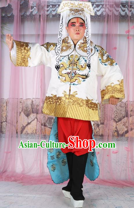 Chinese Beijing Opera Takefu Costume White Mandarin Embroidered Robe, China Peking Opera Imperial Bodyguard Embroidery Gwanbok Clothing