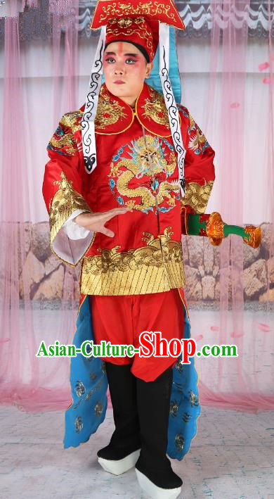 Chinese Beijing Opera Takefu Costume Red Embroidered Robe, China Peking Opera Imperial Bodyguard Embroidery Gwanbok Clothing