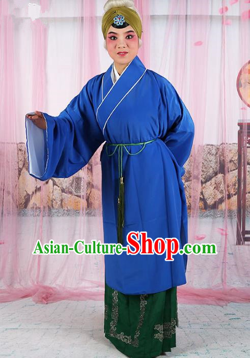 Chinese Beijing Opera Old Women Blue Costume, China Peking Opera Pantaloon Robe Clothing