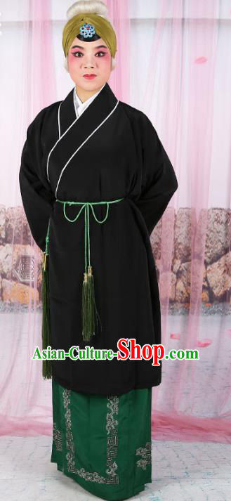 Chinese Beijing Opera Old Women Black Costume, China Peking Opera Pantaloon Robe Clothing