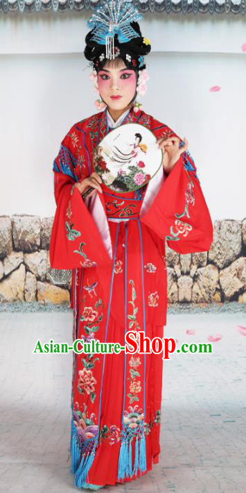 Chinese Beijing Opera Nobility Lady Princess Embroidered Red Costume, China Peking Opera Actress Embroidery Clothing