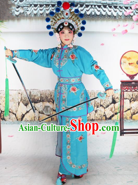 Chinese Beijing Opera Warrior Embroidered Deep Blue Costume, China Peking Opera Blues Embroidery Clothing