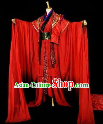 Traditional Chinese Ancient Princess Wedding Embroidered Costume Han Dynasty Bride Young Lady Clothing