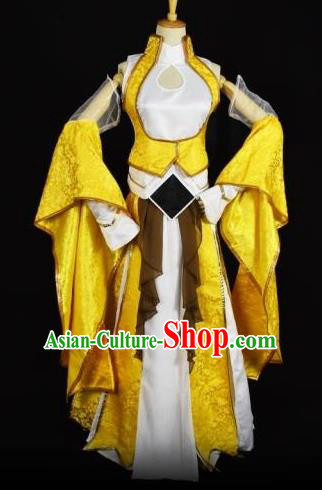 Traditional Chinese Ancient Cosplay Young Lady Princess Costume Swordswoman Yellow Clothing