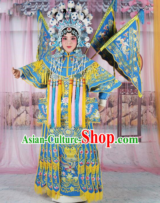 Chinese Beijing Opera Female Swordplay Blue Embroidered Costume, China Peking Opera Blues Embroidery Gwanbok Clothing