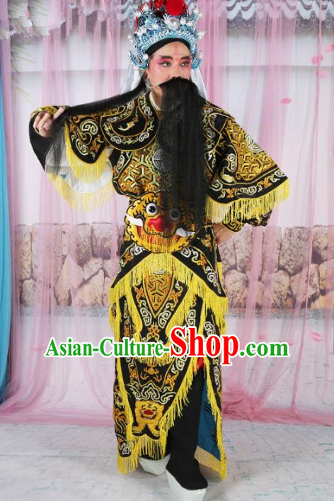 Chinese Beijing Opera Takefu Costume Embroidered Robe, China Peking Opera Imperial Bodyguard Embroidery Black Gwanbok Clothing