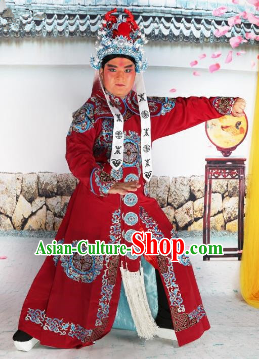 Chinese Beijing Opera Takefu Costume Wine Red Embroidered Robe, China Peking Opera Imperial Bodyguard Embroidery Gwanbok Clothing