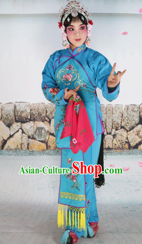 Chinese Beijing Opera Servant Girl Blue Embroidered Costume, China Peking Opera Actress Embroidery Clothing