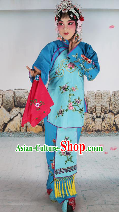 Chinese Beijing Opera Servant Girl Light Blue Embroidered Costume, China Peking Opera Actress Embroidery Clothing