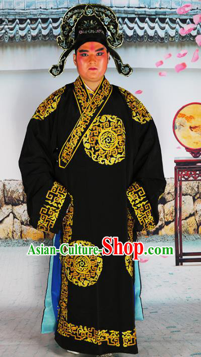 Chinese Beijing Opera Niche Costume Black Embroidered Robe, China Beijing Opera Scholar Embroidery Clothing