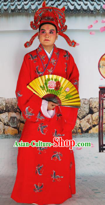 Chinese Beijing Opera Niche Costume Red Embroidered Robe, China Beijing Opera Scholar Embroidery Butterfly Clothing