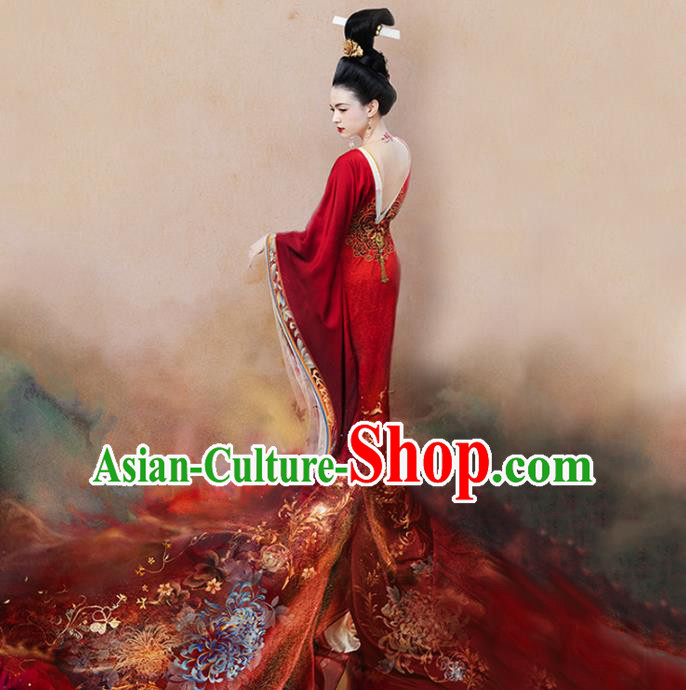 Traditional Chinese Ancient Tang Dynasty Imperial Empress Embroidered Trailing Costume and Headpiece Complete Set