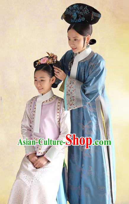 Traditional Chinese Ancient Qing Dynasty Manchu Palace Lady Embroidered Costume for Women