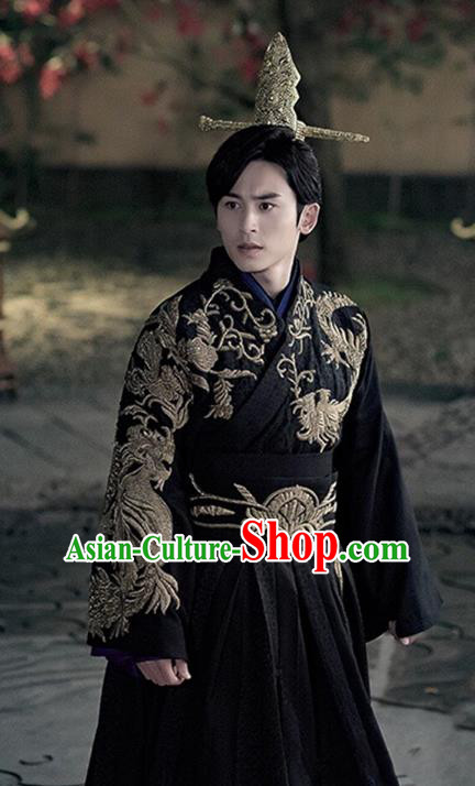Traditional Chinese Ancient Qin Dynasty Prince Embroidered Costume for Men
