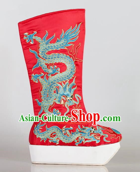 Chinese Beijing Opera Emperor Red Embroidered Boots, China Peking Opera Takefu Embroidery Dragons Shoes