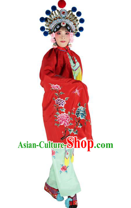 Chinese Beijing Opera Female Soldier Costume Embroidered Red Short Cloak, China Peking Opera Blues Embroidery Mantle Clothing