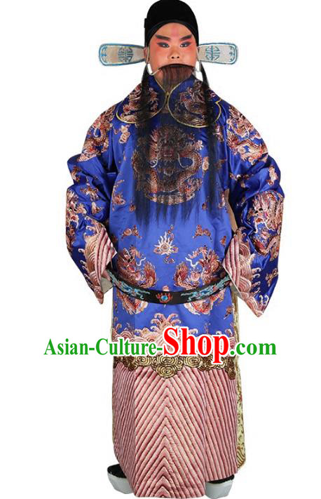 Chinese Beijing Opera Prime Minister Costume Blue Embroidered Robe, China Peking Opera Officer Embroidery Clothing