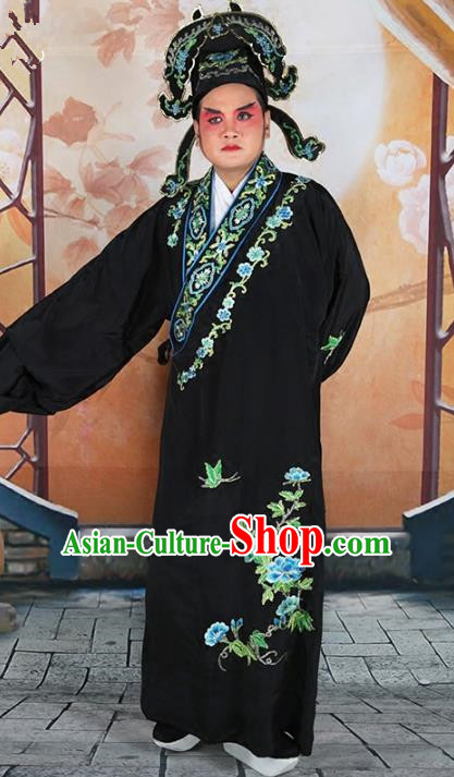 Chinese Beijing Opera Niche Costume Black Embroidered Robe, China Peking Opera Scholar Embroidery Peony Clothing
