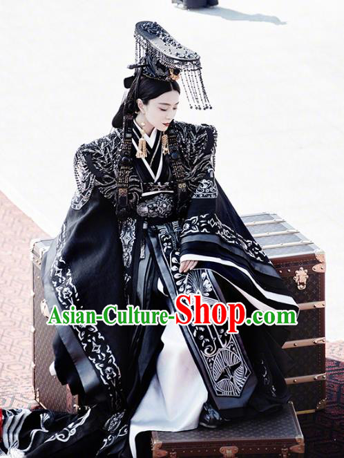 Traditional Chinese Ancient Qin Dynasty Imperial Empress Dowager Embroidered Trailing Costume and Headpiece Complete Set