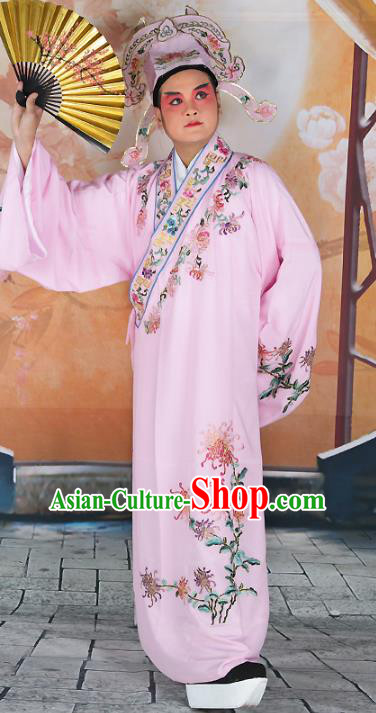 Chinese Beijing Opera Niche Costume Pink Embroidered Robe, China Peking Opera Scholar Embroidery Chrysanthemum Clothing