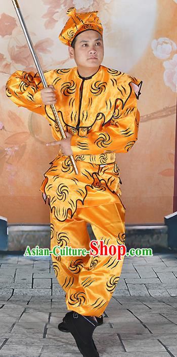Chinese Beijing Opera Takefu Costume Yellow Embroidered Robe, China Peking Opera Monkey King Embroidery Clothing