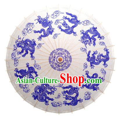 China Traditional Dance Handmade Umbrella Painting Dragons Oil-paper Umbrella Stage Performance Props Umbrellas