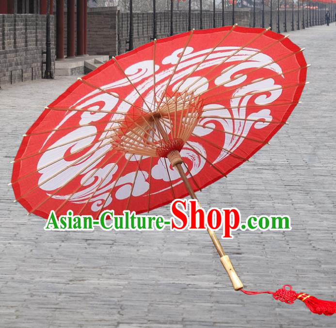China Traditional Dance Handmade Umbrella Wedding Red Auspicious Clouds Oil-paper Umbrella Stage Performance Props Umbrellas