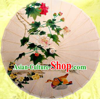 Handmade China Traditional Dance Painting Mandarin Duck Umbrella Oil-paper Umbrella Stage Performance Props Umbrellas