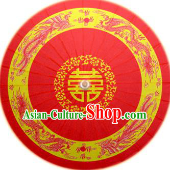 Handmade China Traditional Dance Painting Dragon Phoenix Wedding Red Umbrella Oil-paper Umbrella Stage Performance Props Umbrellas