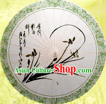 China Traditional Dance Handmade Umbrella Classical Ink Painting Orchid Oil-paper Umbrella Stage Performance Props Umbrellas