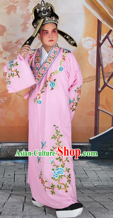 Chinese Beijing Opera Niche Costume Pink Embroidered Robe, China Peking Opera Scholar Embroidery Clothing