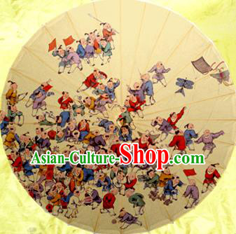 Handmade China Traditional Dance Wedding Umbrella Playing Hundred Children Oil-paper Umbrella Stage Performance Props Umbrellas