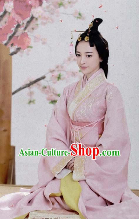 Traditional Chinese Ancient Han Dynasty Royal Princess Embroidered Hanfu Clothing for Women