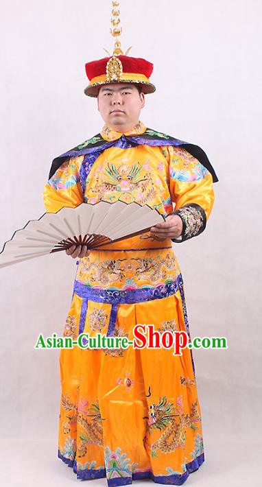 Chinese Beijing Opera Qing Dynasty Emperor Costume Yellow Embroidered Robe, China Manchu Majesty Embroidery Clothing