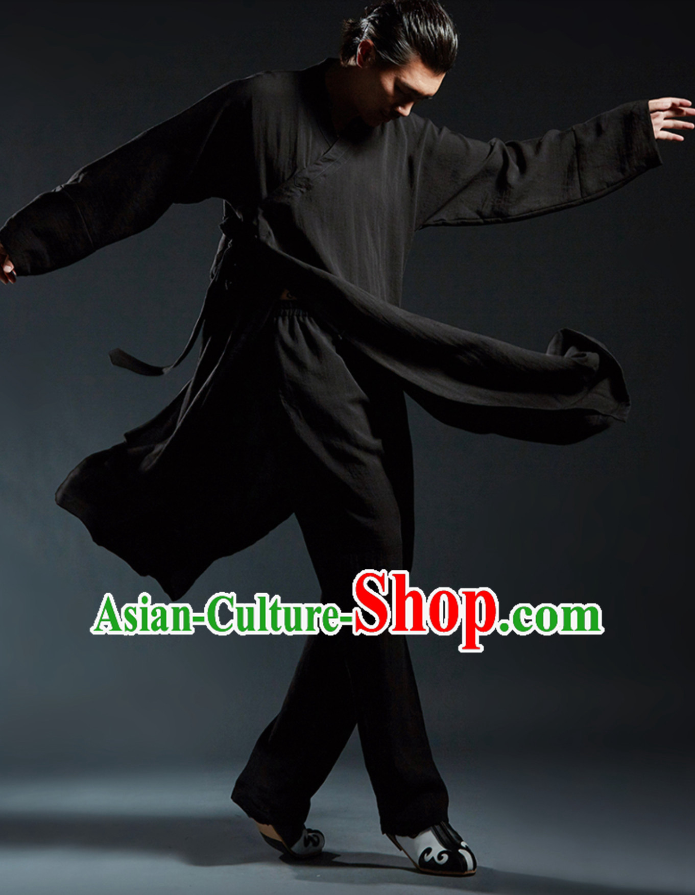 Black Chinese Classical Tai Chi Wushu Martial Arts Uniform Clothing Complete Set for Men Women Kids