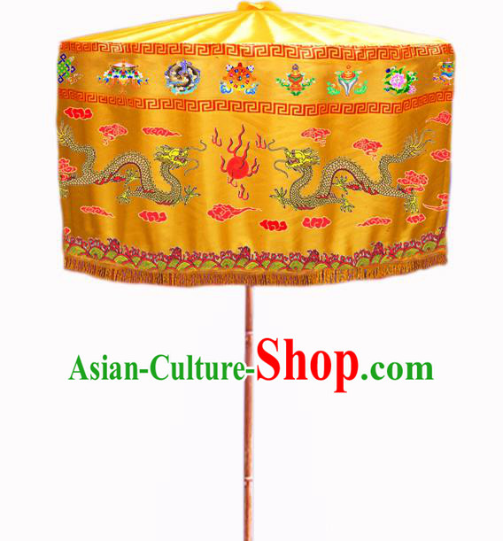 Asian China Handmade Ancient Emperor Umbrella Baldachin Embroidered Dragon Umbrellas