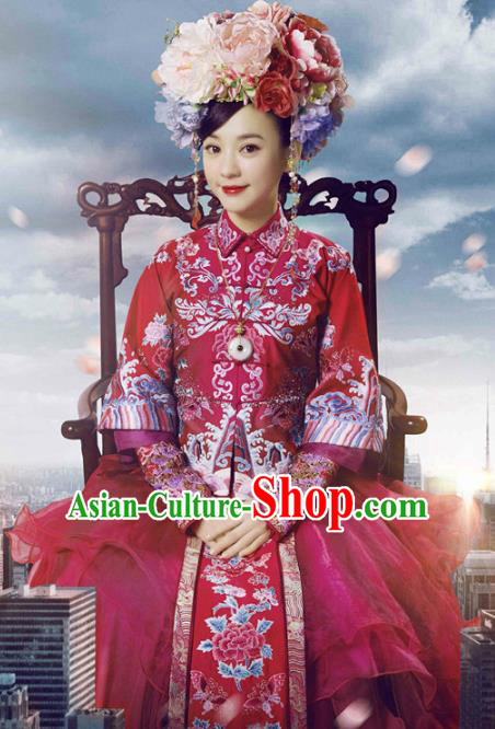 Traditional Chinese Ancient Qing Dynasty Princess Embroidered Xiuhe Suit Wedding Costume for Women