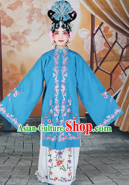 Chinese Beijing Opera Actress Princess Embroidered Blue Costume, China Peking Opera Diva Embroidery Clothing