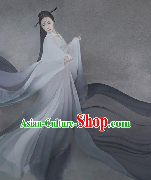 Asian Chinese Ancient Traditional Han Dynasty Palace Princess Clothing and Headpiece Complete Set