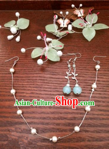 Traditional Handmade Chinese Ancient Classical Hair Accessories Complete Set Hairpins and Earrings for Women