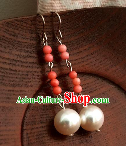 Traditional Handmade Chinese Ancient Princess Hanfu Pearl Eardrop Classical Earrings for Women