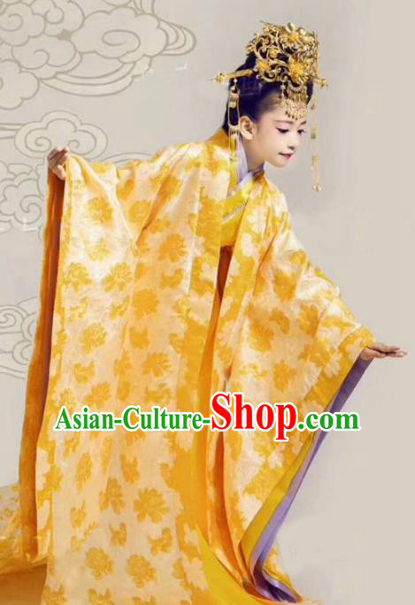 Asian Chinese Ancient Han Dynasty Imperial Empress Costume and Handmade Headpiece Complete Set for Kids