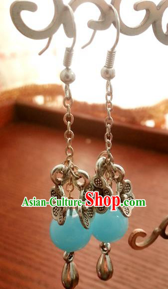 Traditional Chinese Handmade Sliver Flower Eardrop Ancient Palace Lady Princess Hanfu Classical Earrings for Women