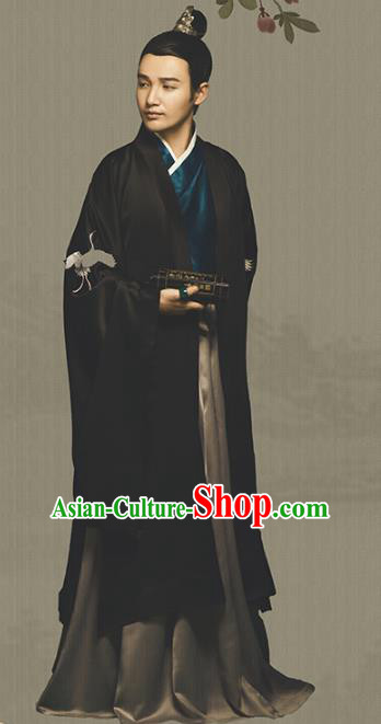 Traditional Chinese Ancient Han Dynasty Emperor Embroidered Hanfu Clothing and Handmade Headpiece Complete Set